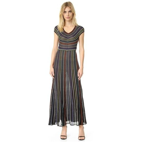 Black multi color striped maxi dress