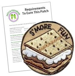 "MakingFriends S'More Fun Patch S'Mores are the most recognizable symbol of a camp out whether it is roughing it or camping in your own backyard. Make the ""S'More Fun"" Patch a part of your next camping activity. Download our suggested requirements."