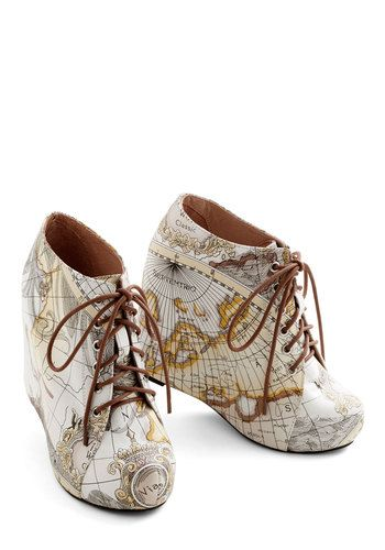 Mapmaking Your Move Wedge. Chart your course toward extraordinary style when you don these 99 Tie wedges by Jeffrey Campbell! #multiNaN