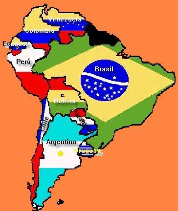 Mapa Sudamérica con banderas por países. Mapa politico