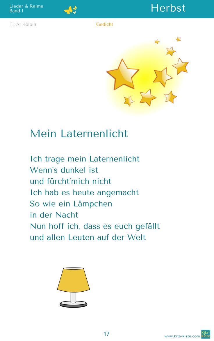 """""""Mein Laternenlicht"""" Herbst Gedicht - aus """"Lieder & Reime 1"""" - www.kitakiste.jimdo.com"""