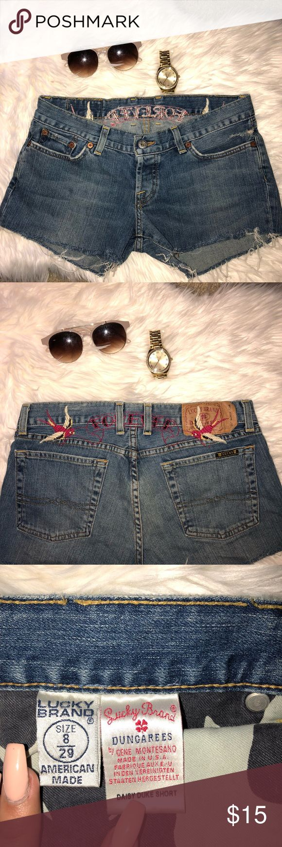🎄XMAS SALE🎄 LUCKY BRAND DAISY DUKE SHORTS 💕Super Cute On  💕Embroidered Swallows On Back  💕Worn Once   💕I️ LOVE OFFERS😍 Lucky Brand Shorts Jean Shorts