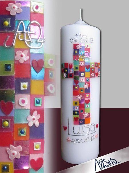 """Taufkerze / Mosaik """"AdF"""" Cl.1 Mädchen Original VT von arte-maria auf DaWanda.com"""