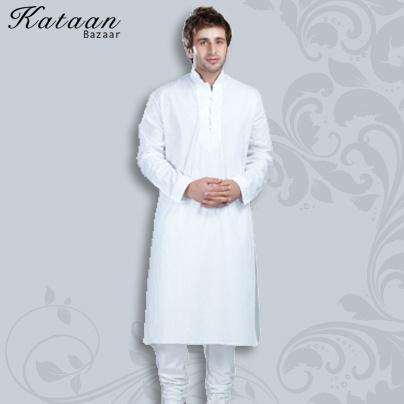 Plain White Kurta with Churidar