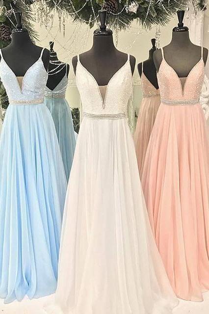 Gorgeous Straps Light Sky Blue Chiffon V-Neck Backless Sleeveless A Line Long  Prom Dress PH485 f053c0a82780