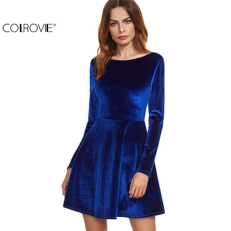 COLROVIE Velvet Dress Royal Blue Long Sleeve Dresses Woman Party Dresses Flare Short Dress Sexy Backless Mini Dress