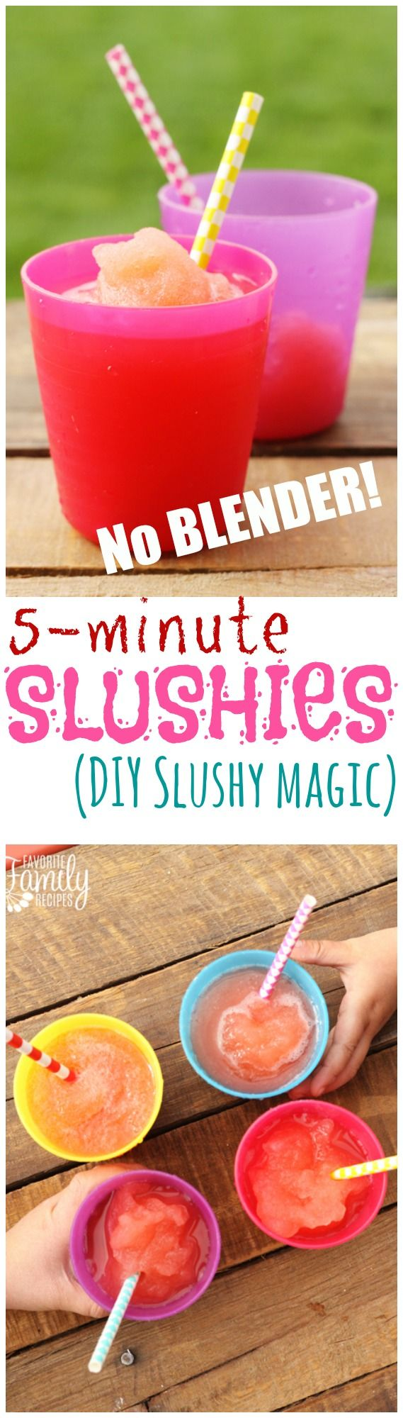 These slushys REALLY DO only take 5 MINUTES! My kids had a blast making them -- my 3-year-old can do it! They really are magic! Coolest. Slushies. Ever.