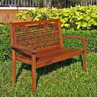 International Caravan Acacia Contemporary Bench