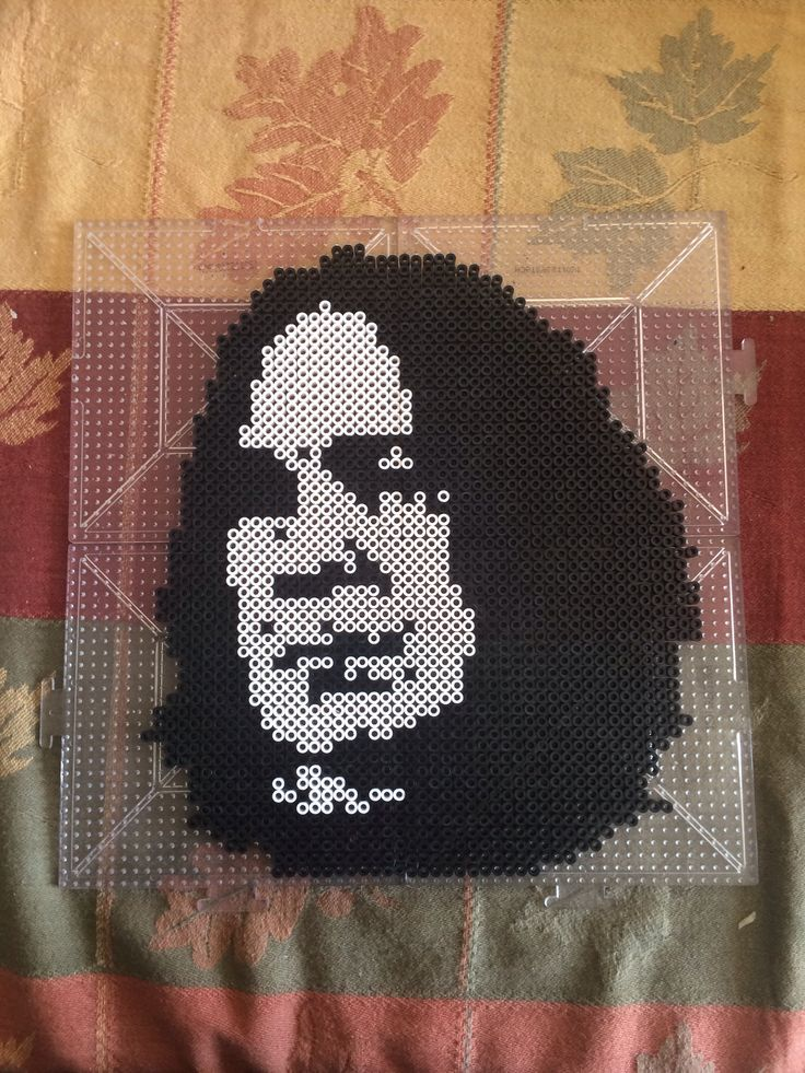 severus snape from harry potter made from black and white perler beads made by kelsey flaherty