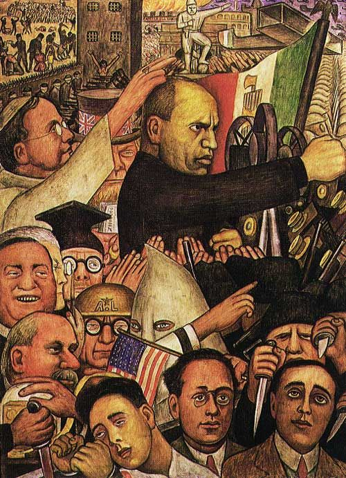 Mussolini 1933 painted by diego rivera at the new for Diego rivera mural new york