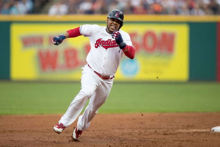 HAULING ASS:   Cleveland Indians designated hitter Edwin Encarnacion advances from first to third base during the third inning against the Texas Rangers on June 28 at Progressive Field in Cleveland. The Indians won 5-3.