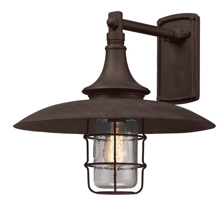 troy lighting allegany large 1 light outdoor wall mount in centennial rust