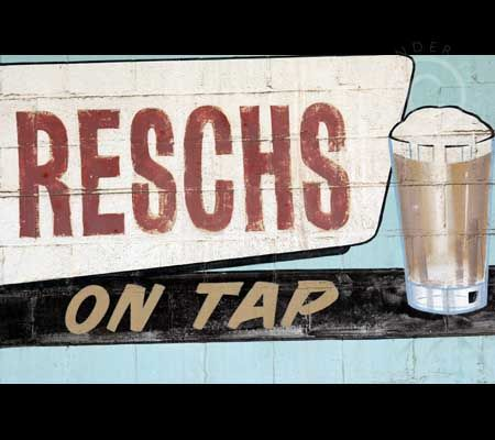 Industrial space Painted Brick Wall Retro Reschs Beer Advertisement 2926