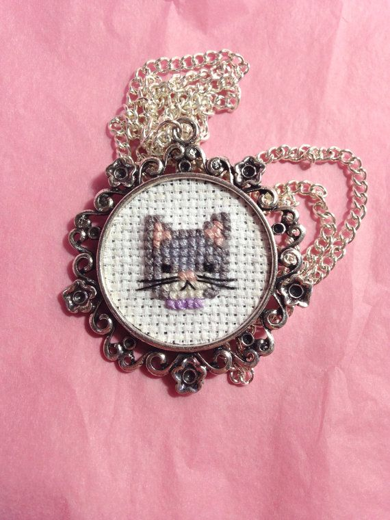 Grey cat cross stitch necklace  kitten cross by otterlydesign