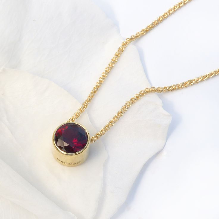 January Birthstone - Lilia Nash Garnet Necklace in 18ct recycled gold Price from £330. Handmade to order by Lilia in her Cotswolds studio using the finest recycled gold and ethical gemstones.