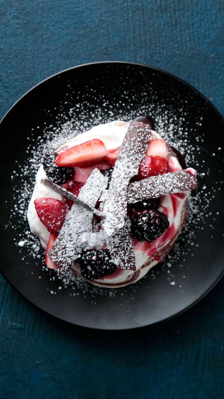 Swirled Chocolate Pavlova with Fresh Berries