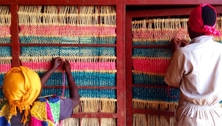 The team also worked with women in the village to integrate weaving techniques into the house.
