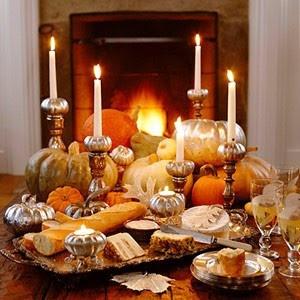 silver, tan, orange pumpkins; mercury glass pumpkin candle holders...