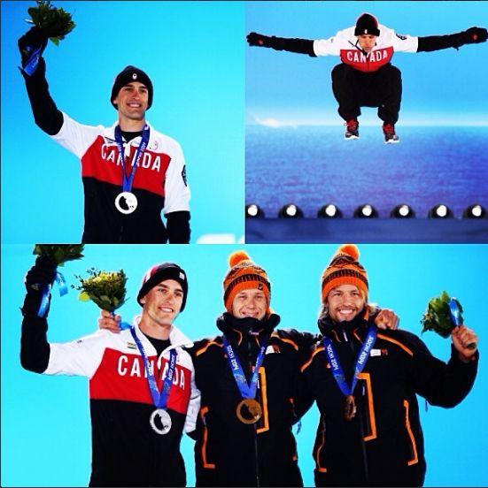 Denny Morrison receives his silver medal.  CBC Olympics Sochi 2014