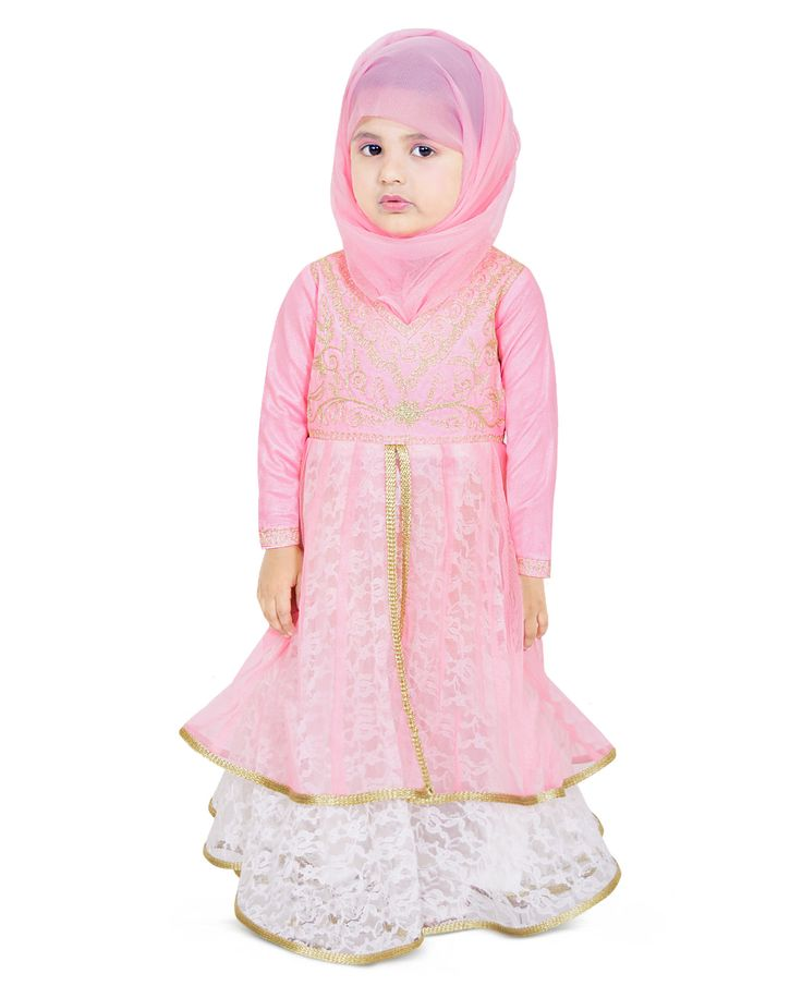 Brighten Up The Angelic Look Of Your Little Daughter By Making Her Wear This Pink Colored Abaya. Tailored Using Poly Flower Net & Crepe, This Party Wear Dress Will Keep Her At Ease All Day Long. This Full Sleeve Dress Is Adorned With Gold Zari Embroidery. This Party Dress Can Be Worn With A Cute Pair Of Wedge Heels And Hair Accessories To Complete Her Enticing Look.