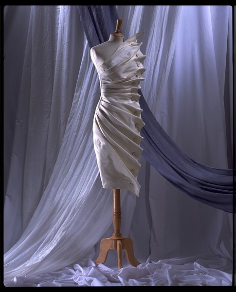 Anthony Price, Bird's Wing Dress of Silk Taffeta with Self-Covered Buttons. English, 1986.
