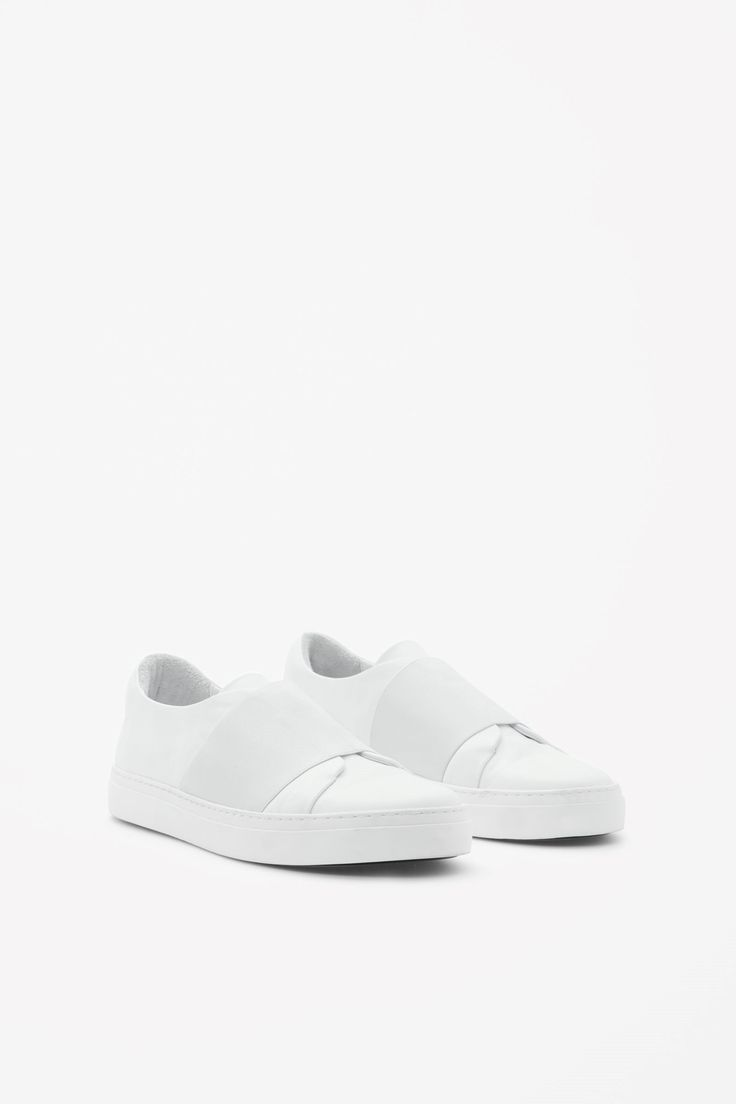 COS image 6 of Wrap-over leather sneakers in White