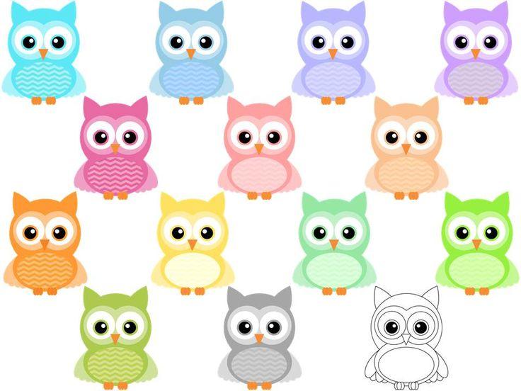 Chevron Owl Clipart ~ Pastel Colors | Clip art, Owl clip ...