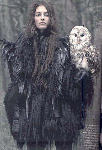 winter: Inspiration, Vogue Paris, Witch, Art, Mark Segal, Fashion Photography, Feathers, White Owl, Fashion Shooting