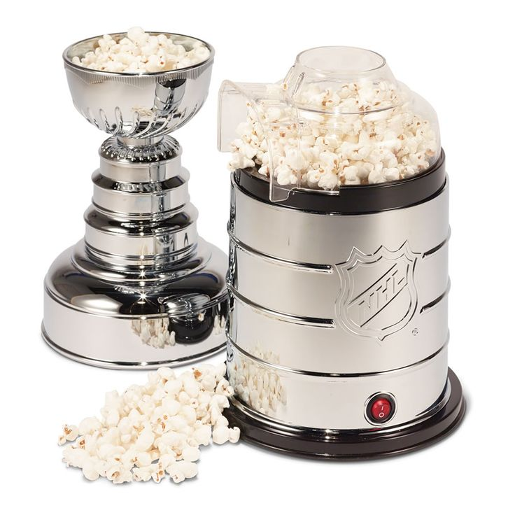 The Stanley Cup Popcorn Maker - This is the Lord Stanley popcorn maker that one can hoist overhead triumphantly or kiss to celebrate a successful playoff run.