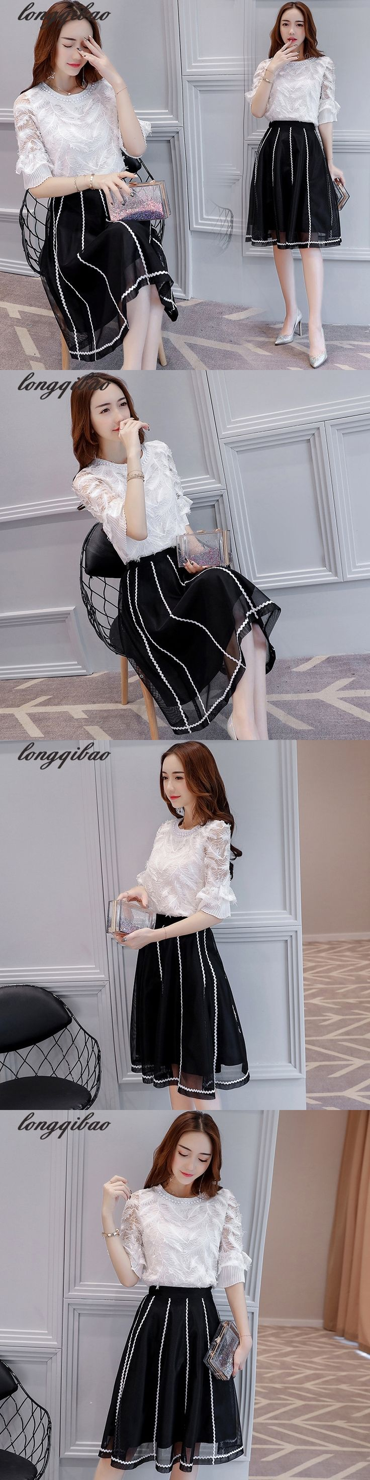 Spring and summer women's new ladies chiffon shirt +Small fragrant wind Skirts Two pieces / sets AL7353