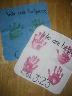 Washcloths with children's handprints on them...great gift idea