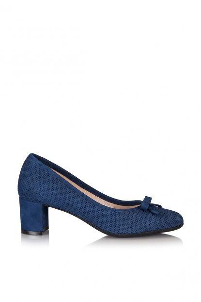 Hakiki Deri Mavi Kadın Topuklu Ayakkabı