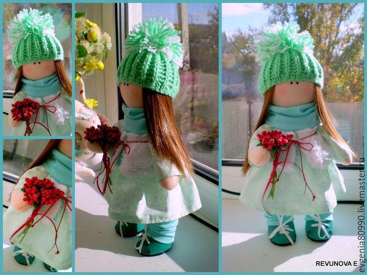 Купить Текстильная куколка - бирюзовый, кукла ручной работы, кукла в подарок, кукла интерьерная