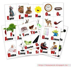Nyomtatható szótanuló kártyák a magyar ABC betűivel