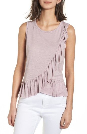 Free shipping and returns on Soprano Asymmetrical Ruffle Tank Top at Nordstrom.com. A fluttery ruffle trailing from the shoulder and encircling the hem gives a flirty finish to this supersoft tank.