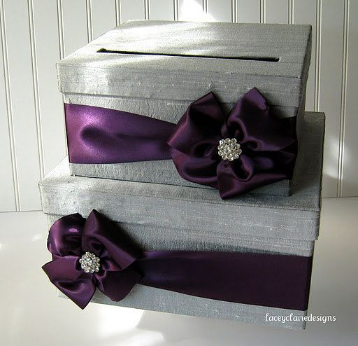 Card box for wedding custom gift card box. via Etsy.    I like the box in the deep purple with the champagne bow.