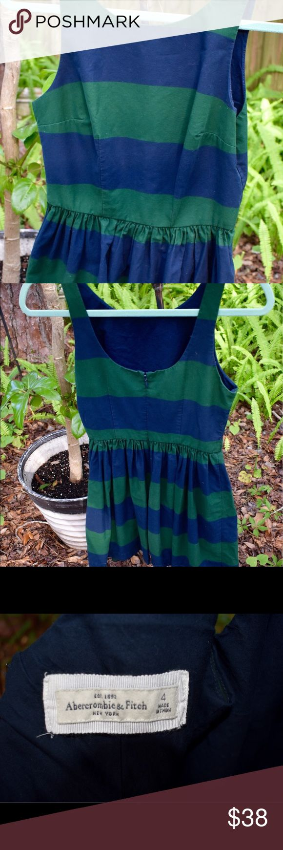 Abercrombie & Fitch striped mini dress size 4 Hunter green and navy blue striped sleeveless Abercrombie & Fitch mini dress. Fitted bodice with flared skirt. 100% cotton. Size 4. Length approximately 32 inches. Good to very good condition. Abercrombie & Fitch Dresses Mini