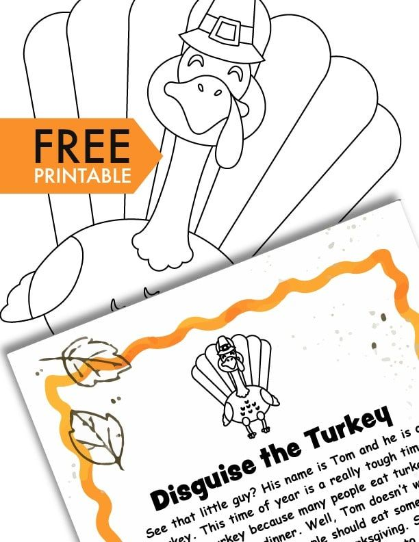 This turkey in disguise project free printable Thanksgiving template is a fun hands-on activity for kids & includes a fill-in-the-blank letter from Tom.