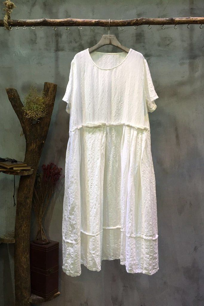 4467040ea5085 Casual Plus Size Linen Doll Dress Women Long Clothes 7032 | Cotton ...