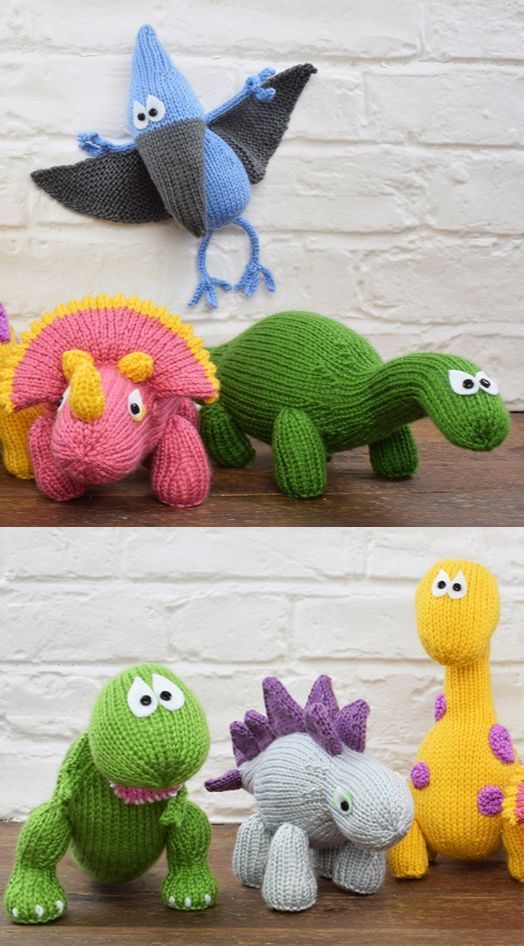6 Dinosaurs to Knit - Dinosaur Collection  Kit contains enough yarn to make all six Dinosaurs, along with a digital copy of each pattern including Bruno the Brontosaurus, Tina the Tyrannosaurus Rex, Stanley the Stegosaurus, Alan the Apatosaurus, Toby the Pterodactyl and Trixie the Triceratops.