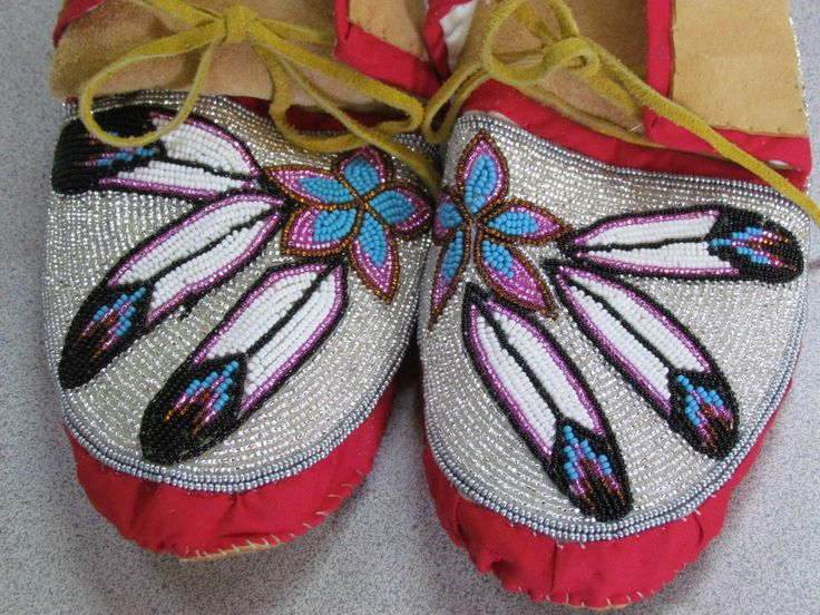 Native American Full Bead Tan Hide Moccasins Multicolored Pink and Red 10 Inches | eBay