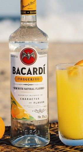 The Bacardí Tango tastes like summer in a glass with the simple combination of orange juice and Bacardí Tangerine. (sp)