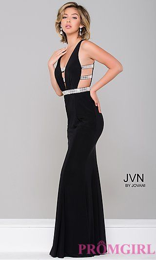 V-Neck Open Back Long Prom Dress with Cut Outs at PromGirl.com