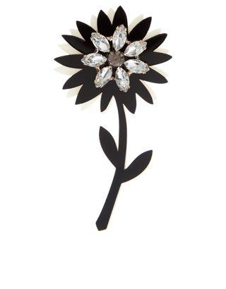 Perspex Brosche mit Blume und Kristallstein
