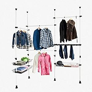 SoBuy® FRG38, Telescopic Wardrobe Organiser, Hanging Rail, Clothes Rack, Storage Shelving: Amazon.co.uk: Kitchen & Home