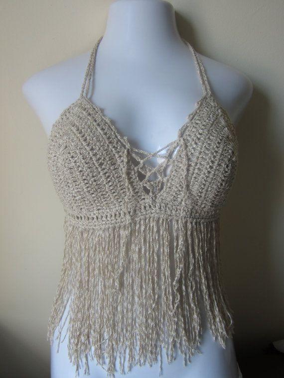 Fringe top halter top crochet top  bikini top by Elegantcrochets, $45.00
