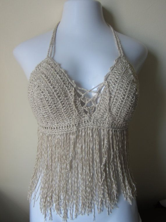 Fringe top halter top crochet top  bikini top by Elegantcrochets, $45.00