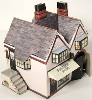 """Kellogg's UK Paper Village - Baker's Shop - by Toy Connect -         More one beautiful vintage paper building from Mr. Berg, from Las Vegas, USA. Mr. Ed """"ICE"""" Berg, from Toy Connect website, is doing a great work to preserve old and rare paper models, like this Kellogs` Baker's Shop, in a nice Vintage style. Thanks Mr. Ice!"""