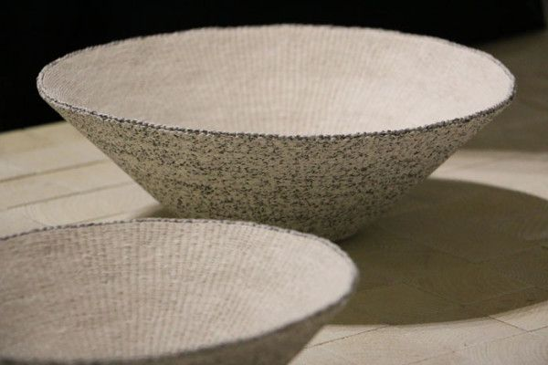 Paper of the Week: Paper String: Bowls to Hold Mind are containers made of two twisted threads of traditional mulberry paper (hanji) strips by Kim Eun-hye.