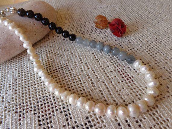 Collana di onice tormalina e perle di fiume di Myspecialgift